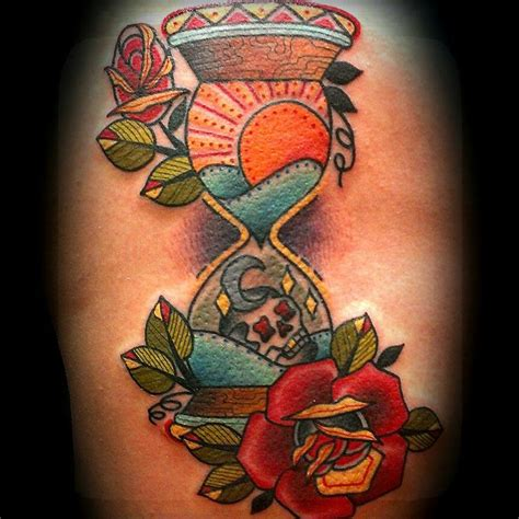 hourglass rose tattoo hourglass skull traditionaltattoo my tattooing