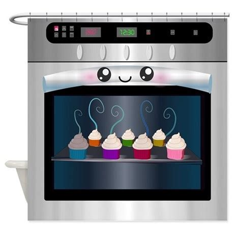 Cute Happy Oven with cupcakes Shower Curtain by
