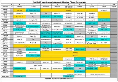 Northwood Kensett 2017 2018 Course Book And Schedule Master Schedule Template