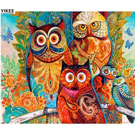 Lukisan Bordir h019 berlian bordir colorful owl berlian lukisan hewan