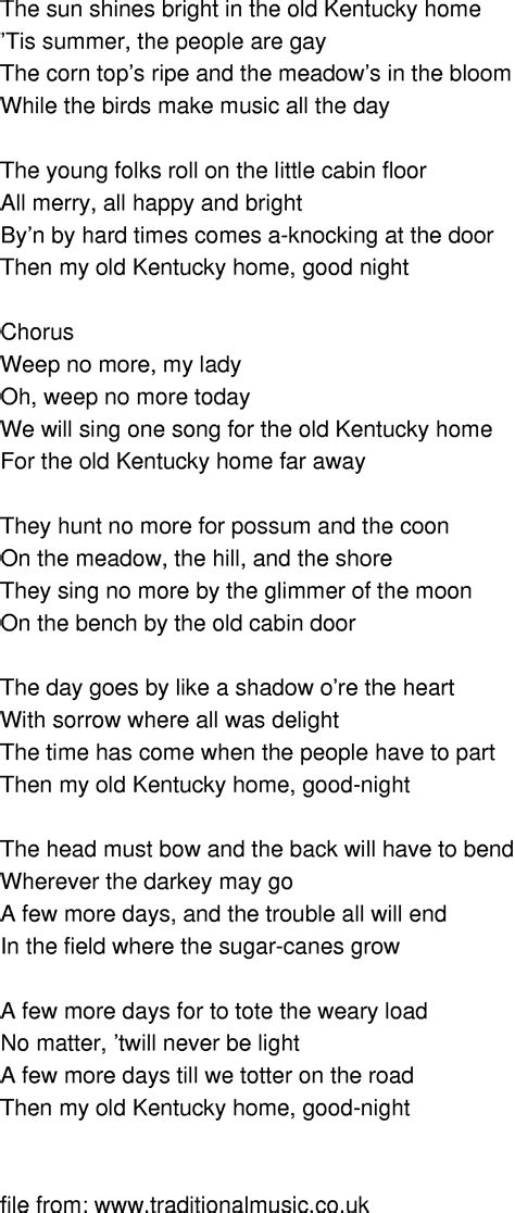 time song lyrics my kentucky home