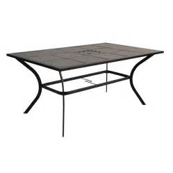 Patio Table Tile Top Shop Garden Treasures Cascade Creek Tile Top Black Rectangle Patio Dining Table At Lowes