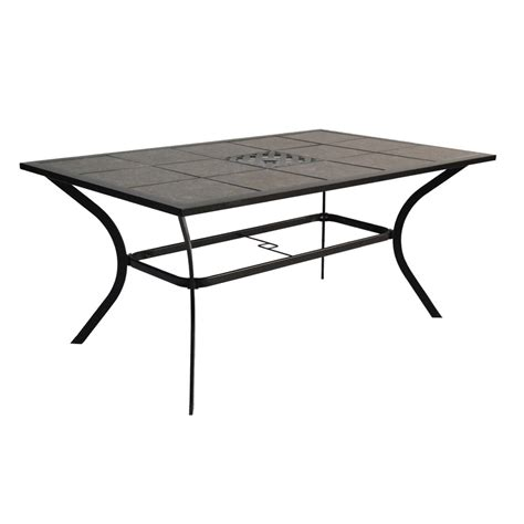 Rectangle Patio Table Shop Garden Treasures Cascade Creek Tile Top Black Rectangle Patio Dining Table At Lowes