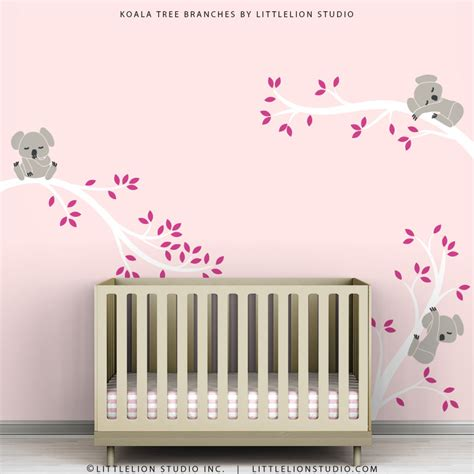 Pink Kids Decal Wall Decor Baby Pink Room White Tree Branches Nursery Room Wall Decor