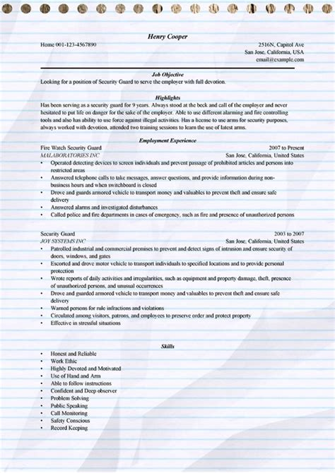 security guard cv sles doc security guard resume exle for microsoft word doc