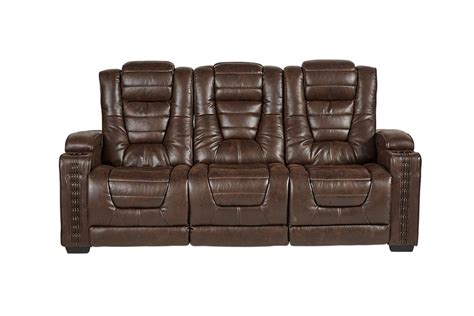 Highway to Home Power Reclining Microfiber Sofa with Drop Down Table
