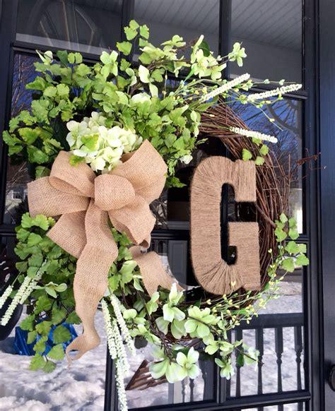 spring wreath  front door  grapevine wreath