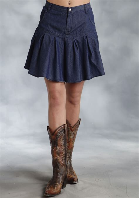 roper 174 denim pleated mini western skirt