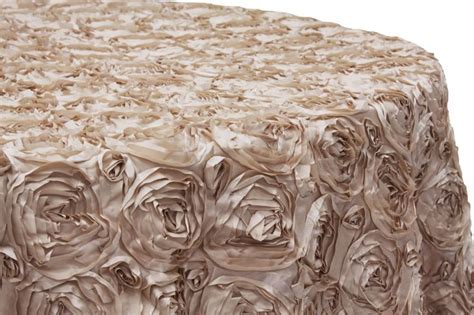 "Wedding Rosette SATIN 120"" Round Tablecloth   Champagne"