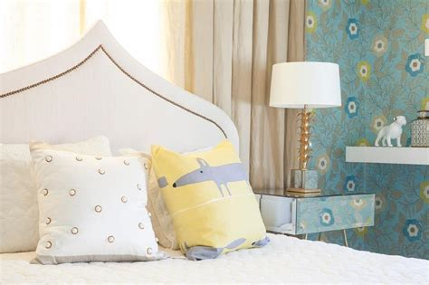 blue tufted kid headboard with white chinoiserie