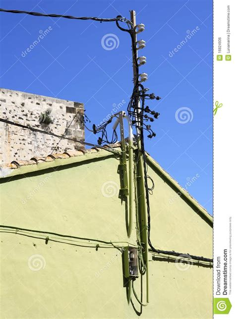 electric wire from pole to house electric pole wire cable detail green house royalty free stock image image 16824936