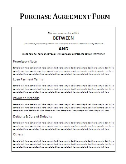 vehicle purchase agreement form free word templates