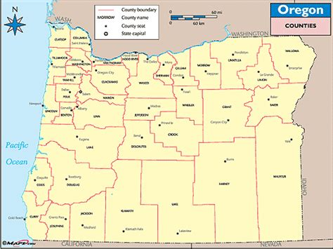 map of oregon by county county seats in oregon