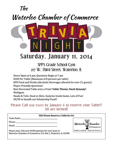 trivia flyer template free 10th annual waterloo chamber of commerce trivia
