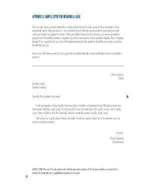 breaking lease letter breaking lease fillable contract fill printable