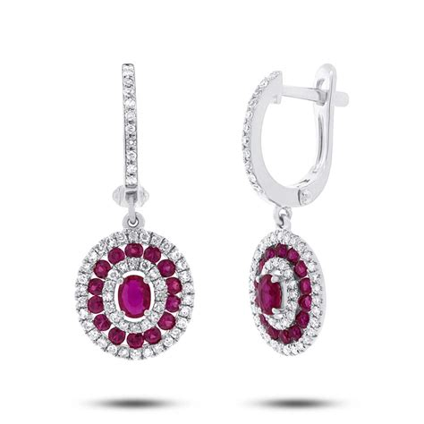 3 45ct Ruby 0 45ct 1 03ct ruby 14k white gold earrings