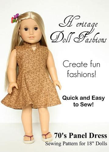 doll clothes pattern pdf 1970 s panel dress 18 inch doll clothes pattern pdf