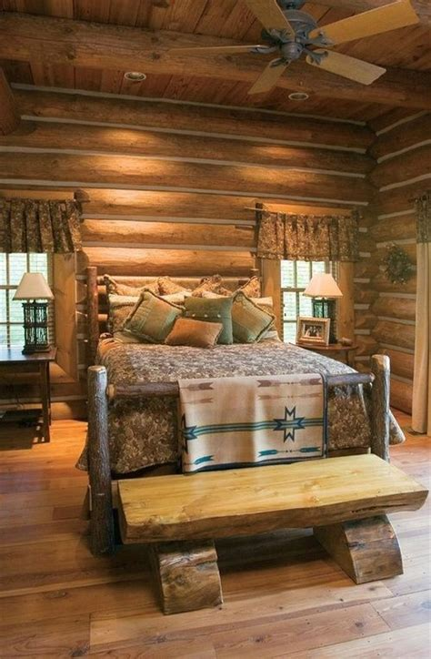 log curtain rods log cabin bedroom cabin in the woods pinterest