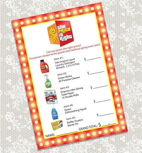 printable price is right bridal shower game printable the price is right bridal shower game card