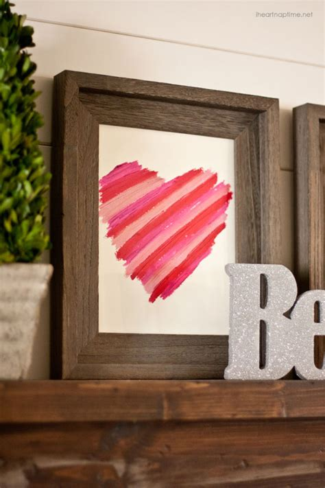 simple crafts for home decor easy valentines day decor diy lipstick art i heart nap