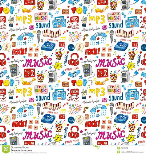 cute music pattern cute music icon seamless pattern stock vector