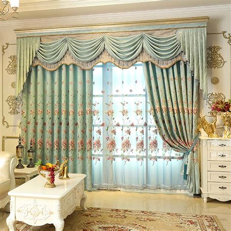 living room valance aliexpress com buy high quality european embroidered luxury blackout curtains thick chenille
