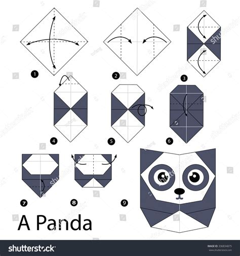 Origami Panda Easy - step by step how make stock vector 336834875
