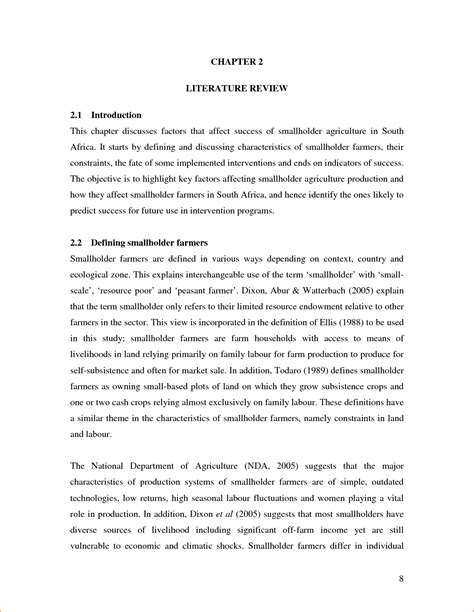 exle of literature review layout