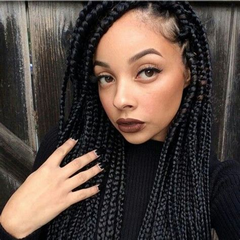 box braids on dark skin people lightskin with dark braids hair nails makeup