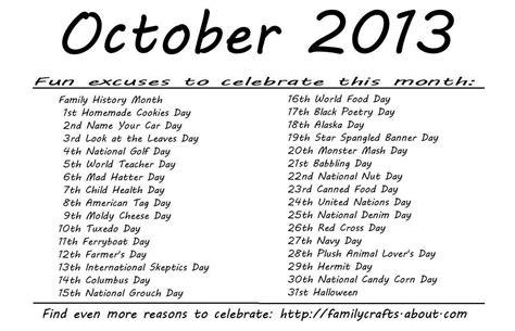Calendar Of Special Days Kindergarten And Mooneyisms Special Days October