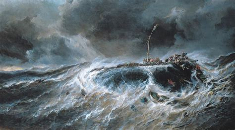 Marine Shower Curtain Shipwreck Painting By Louis Isabey
