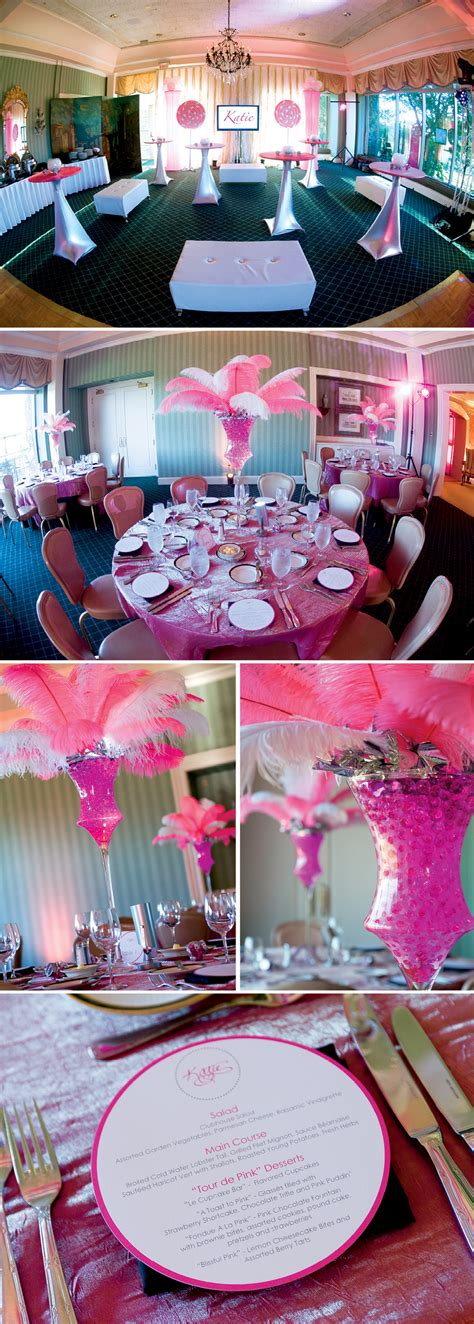 pink bat mitzvah decor table centerpieces feathers menus