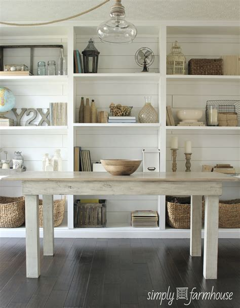 dining room shelving white room farm table open shelves plank walls pretty