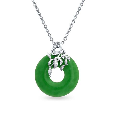 Jade Pendant Necklace cz leaves and green jade disc pendant 925 sterling silver
