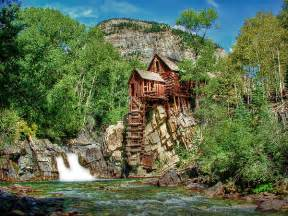 Vintage Shower Curtain - crystal mill crystal colorado photograph by ken smith