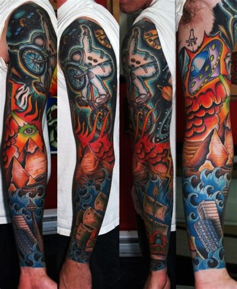 apocalypse bike riding astronaut tattoo sleeve best