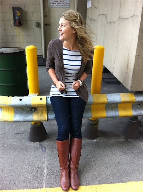 skinny jeans boots on pinterest nautical womens nautical striped tee brown cardigan skinny jeans brown