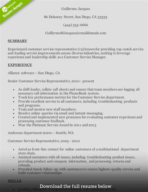 sample customer service representative resume 7 examples in pdf word