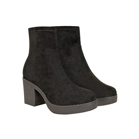 chunky heeled boots black suede low block heel chunky platform ankle boots adora