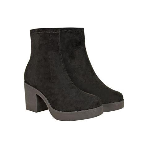 black suede low block heel chunky platform ankle boots adora