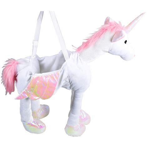 childrens pink white ride on unicorn fancy dress up