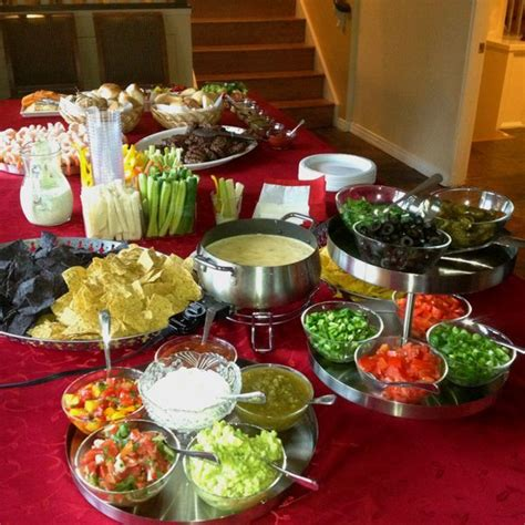 colored tortilla chips taco bar buffet platters of different colored tortilla