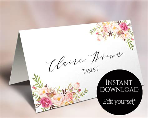 Place Card Template Wedding Place Cards Editable Place Place Card Templates