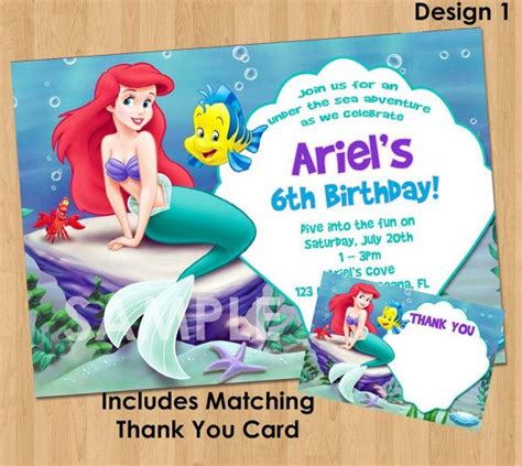 printable little mermaid thank you cards little mermaid invitation thank you note printable