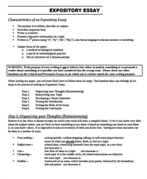 format expository essay sle expository essay 8 exles in word pdf