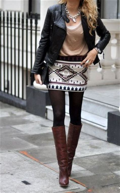 Black Tribal Brown tribal print skirt with tights brown boots and a black leather jacket