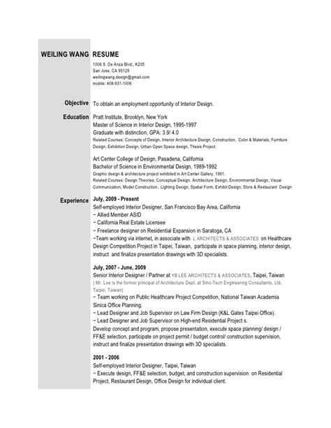 Free Resume Sles For Interior Designer Interior Design Resume Sales Interior Design Lewesmr
