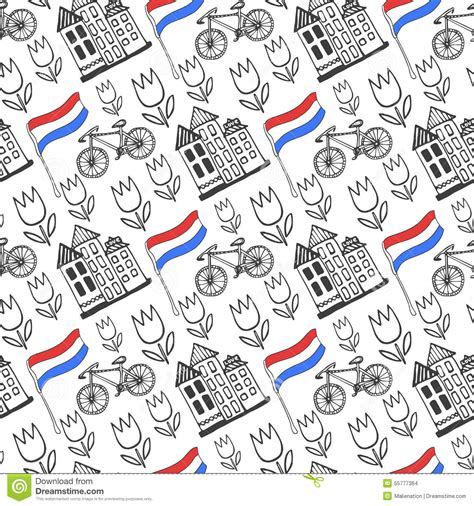 House Building Plans And Prices by Hand Drawn Seamless Pattern With Holland City Elements