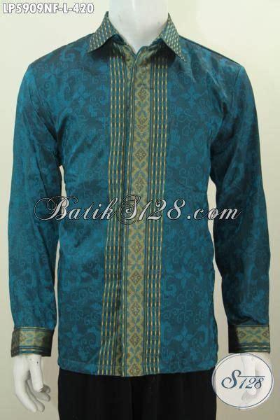 Size Baju Executive baju tenun halus mewah warna biru dengan motif terkini pakaian tenun premium lengan panjang