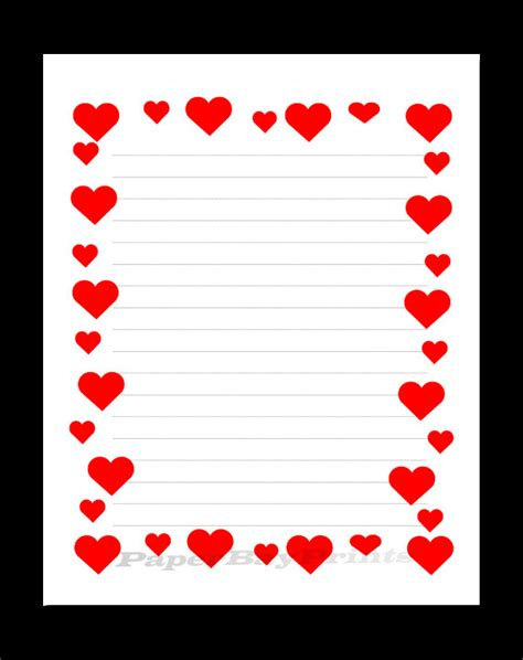 printable lined heart paper printable lined paper with heart border red hearts design